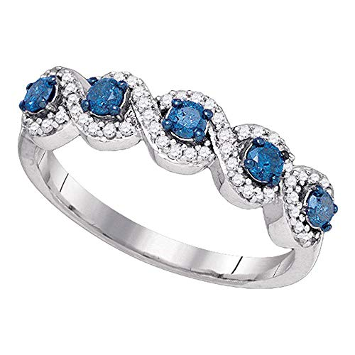 Dazzlingrock Collection 10kt White Gold Womens Blue Color Enhanced Diamond Woven Band Ring 1 2 Cttw