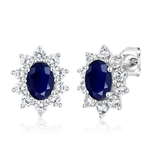 10K White Gold 1.90 Ct Blue Sapphire Women's Oval Halo Stud Earrings by Gem Stone King