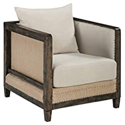 Farmhouse Accent Chairs Signature Design by Ashley Copeland Distressed Rustic Accent Chair, Beige & Brown farmhouse accent chairs
