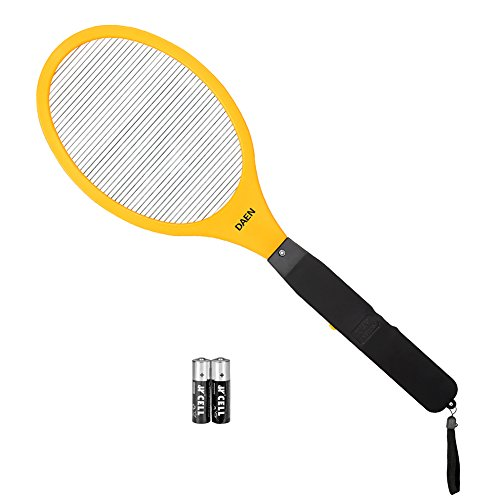 DAEN Bug Zapper - Mosquito Racket and Electric Fly Swatter - Specialized Pink, Blue, Yellow for your choice ( AA batteries Included ) (yellow)