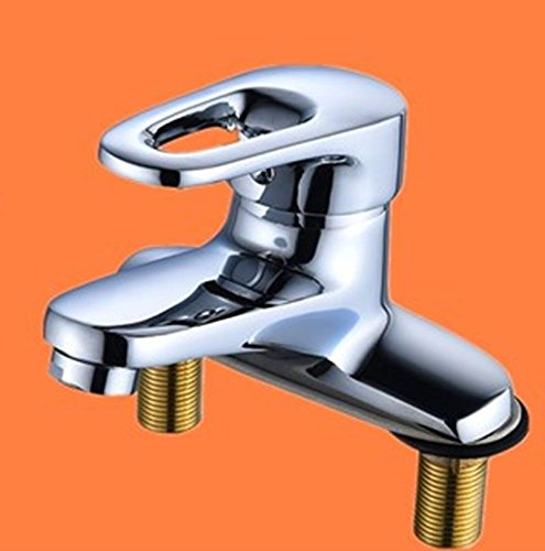 E iJIAHOMIE Style of Bathroom Sink Taps, Bathroom Faucets,Waterfall Basin Sink Mixer Tap Modern Basin, Copper, Double Hole, Three Holes, hot and Cold, Bathroom, A