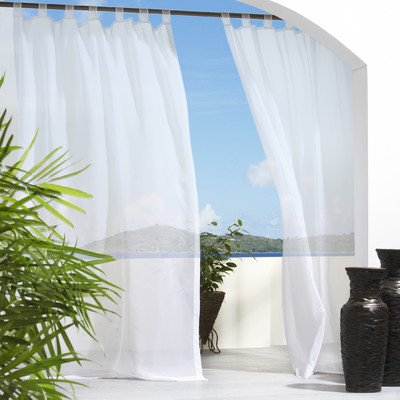 Outdoor Decor Escape Voile 54 by 96-Inch Velcro Tab Panel, White