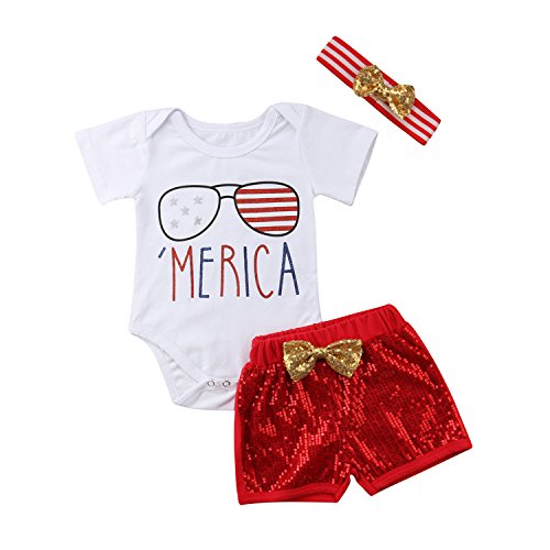 WIFORNT Infant Baby Girls Boys 4th of July Outfit, Merica Print Patriotic Jumpsuit Romper+ Shorts+Headband Independence Day Clothes (0-6 Months)