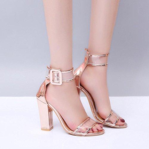 JIANGFU Frauen/High Heels/Schnallen/Sandalen, Damen Damen Block High Heel Sandaletten Knöchel Plattformen Schuhe Schnalle High Heels Gold