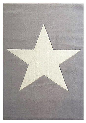 Wollteppich Happy Rugs BIG STAR silbergrau/natur 120x180cm