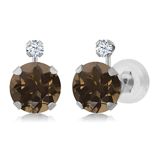 Gem Stone King 1.68 Ct Round Brown Smoky Quartz White Created Sapphire 14K White Gold Earrings