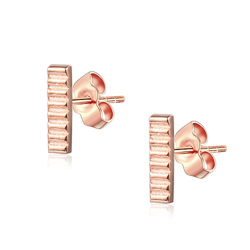 (Sterling Silver Hammered Bar Stud Earrings 14K Rose Gold Finish )