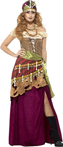 Costume Voodoo Uk (Deluxe Voodoo Priestess Costume Multi Medium Uk Dress)