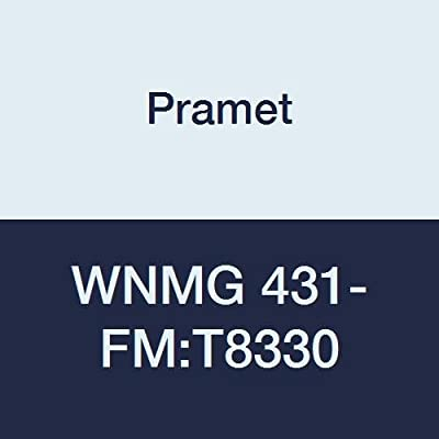 "Pramet WNMG 431-FM:T8330 Carbide Indexable Turning Insert, Multi-Material (P30,M25,K30), Negative, 1/2"" I.C, 3/16"" Thick, 0.016"" Radius, PVD, DOC=.020""-.118"",80 Degree Trigon, Gold (Pack of 10)"