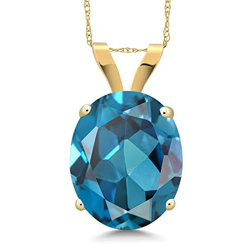 (Gem Stone King 4.20 Ct Oval London Blue Topaz 14K Yellow Gold Pendant With)
