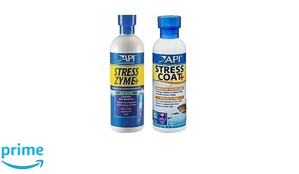 Tratamiento y Acondicionador de Agua para Acuarios de Peces - Stress Zyme y Stress Coat 237ml: Amazon.es: Productos para mascotas