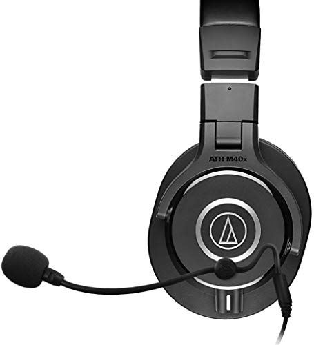 Audio-Technica ATH-M40x Dynamic Headphones Bundle with Antlion Audio ModMic 4 Attachable Boom Microphone with Mute Switch, and Blucoil Y Splitter for Audio, Mic