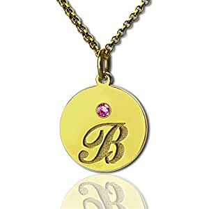 "Personalized Name Necklace Disc Necklace with Initial & Birthstone Jewelry Custom Christmas Gift (18k rose-gold-plated-base 20""(50cm))"