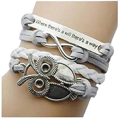 Nurbo Infinity Handmade Fashion Friendship PU Leather Charm Pendent Bracelet Wrist Band