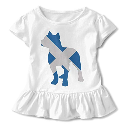 MAON Toddler Baby Girl Patriotic Pitbull Scotland Flag Funny Short Sleeve Cotton T Shirts Basic Tops Tee Clothes White - Bulldog Patriotic Pit