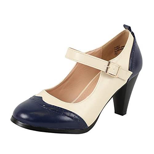 Chase & Chloe Dora-2 Navy/White Women's Round Toe Two Tone Mary Jane Pumps (5.5) -