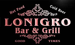 u26979-r LONIGRO Family Name Bar & Grill Home Beer Food Neon Sign