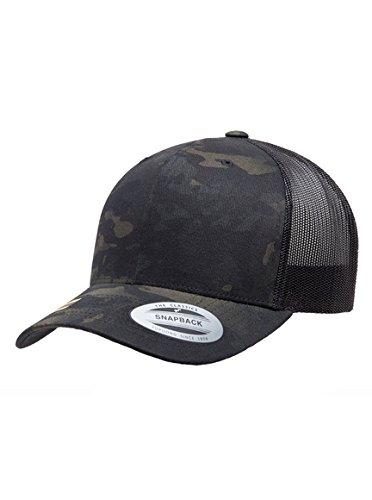 Yupoong Retro Trucker Hat & 2-Tone Snapback - 6606, by Flexfit (One SIze, Camo/Black) (Camouflage Pro Mesh Cap)