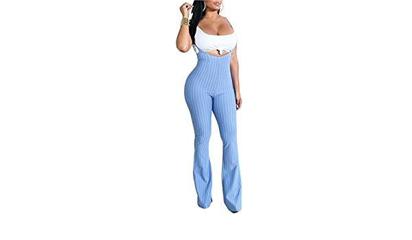 WentShopping Women Camis Tops and Spaghetti Strap Striped Wide Bell Bottom Jumpsuit Rompers
