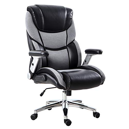 r & Fabric Office Chair with Adjustable Tilt and Lock Any Angle - Computer Desk Chair with Thick Padding for Comfort and Ergonomic Design for Lumbar Support - 400lbs ()