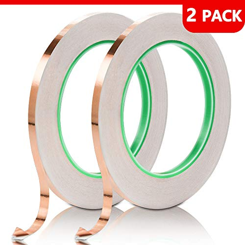 (Copper Foil Tape with Double-Sided Conductive, for Guitar, EMI Shielding, Stained Glass, Soldering, Electrical Repairs, Paper Circuits, Grounding and Crafts)