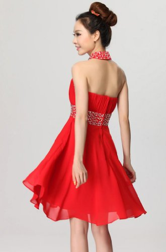 Kleidungen Damen Mini Rot Kurz Dearta A Neckholder Linie Aermellos Reissverschluss Abendkleider Chiffon pF6gq