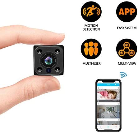 Mini Spy Camera, Wireless Hidden Camera HD1080P Video Night Vision Motion Detection for Home and Office