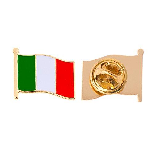 Italy Country Flag Lapel Pin Enamel Made of Metal Souvenir Hat Men Women Patriotic Italian (Waving Flag Lapel Pin) ()