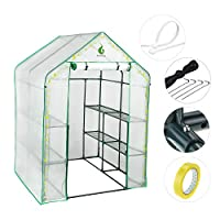 Greenstell Greenhouse with PVC Cover and 8 Sturdy Shelves,Thicken Tube,Stable Walk-in Green House for Gardening Flowerpot Indoor Outdoor Use ( 77x56x56 inch)