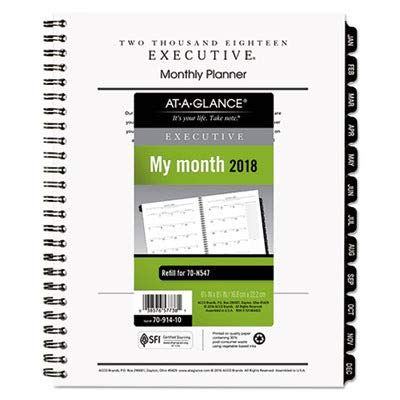 2006 Executive Calendar - AT-A-GLANCE Executive Monthly Planner Refill, 6 5/8 x 8 3/4, 2019