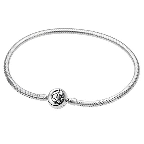 Qina C Rhodium On 925 Sterling Silver Round Sun Moon Snap Clasp 3mm Snake Bracelet For European Bead Charm 6.5 Inches