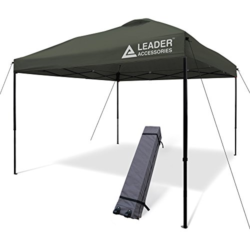 Leader Accessories 10x10 Straight Wall Pop Up Instant Canopy Dark Grey One Wheeled Carry Bag included ()