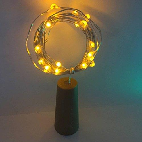 1 Set Copper Wire Starry String Light LED Nightlight Glass 2M/6ft 20 LEDs Moonlight Wedding Holiday Halloween Christmas Tree Illustrious Popular Decorations Bright Night Lights Kit, Type-6 Yellow (Moonlight String)