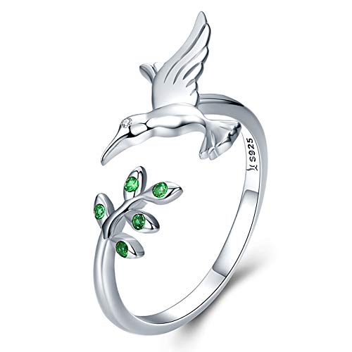HSUMING 925 Sterling Silver Fashion Creative Hummingbird Olive Tree with Green Cubic Zirconia Opening Adjustable Ring for Girls/Women of All Ages