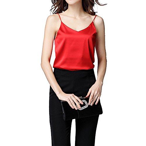 - hot air balloon Womens Sleeveless Shirt V-Neck Silk Camisole Stretch Loose Halter Solid Top Shirt