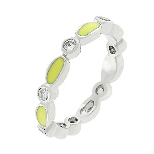 - J Goodin Yellow Link Enamel Stacker Ring Size 6