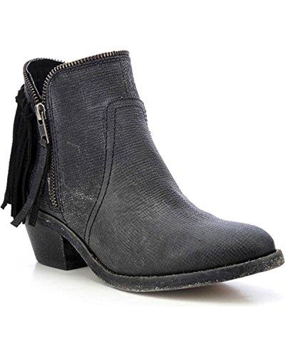 Cowboy Back Corral Leather Black Fringe Boots Zip Urban Shortie Brown Women's up 6wqzwEa