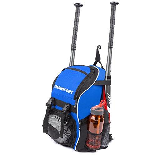 DashSport Baseball Bag Softball Backpack Bat Bag for Youth and Adults | Kids T-Ball Equipment and Softball Bag | Gear for Girls and Boys | Youth Bat Pack (Blue)