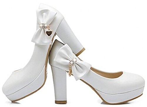 Idifu Womens Sweet Bow Hanger Hoge Dikke Hakken Slip Op Pumps Platform Lage Top Sandalen Wit