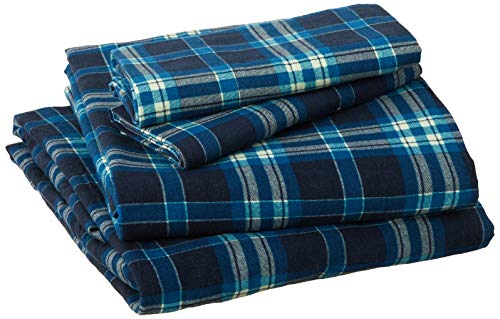 Pointehaven Flannel Deep Pocket Set with Oversized Flat Sheet, Queen, Ashby Plaid (Set Flannel Size Queen Sheet)