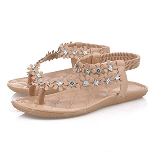 Han Shi Flat Sandals Women Fashion Summer Bohemia Flower Beads Flip Flop Shoes (Khaki, 6.5)