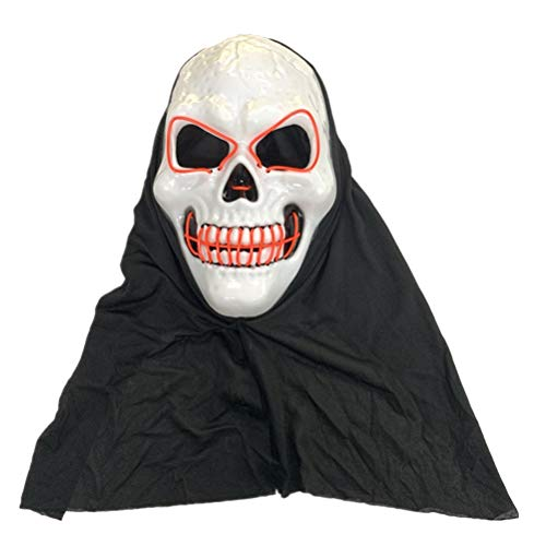 1pc Halloween Party Favors LED Glowing Mask Skull Head Night Mask Scary Head Cover Halloween Party Favors Cosplay Mask without Battery (Red)]()