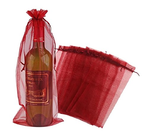 Wuligirl 20pcs Drawstring Organza Wine Bottle Bag 5.5 by 14.5 Inch Wedding Favors Party Reusable Festive Packaging Baby Shower Wine Gift Bags(20pcs Wine Red)