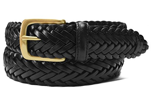 796-BLK-46 - Big & Tall Toneka Men's Woven Cowhide Full grain Braided Black Leather Belt with Brass Buckle (Big Brass Buckle)