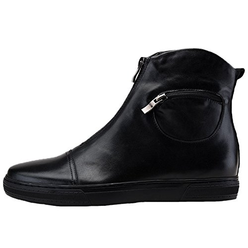 Santimon Mens Dress Boots Sneakers In Pelle Con Cerniera Sportive Sneakers Nere
