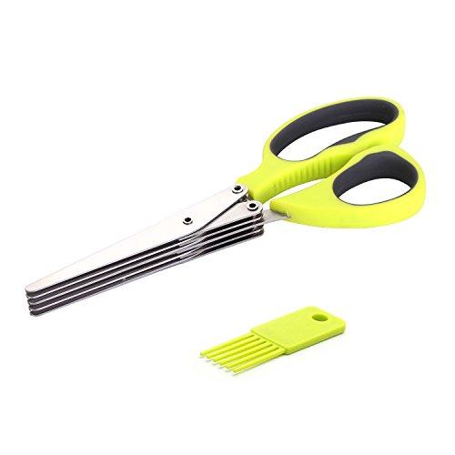 Stainless Steel 5 Blade Scissors (Green) - 5