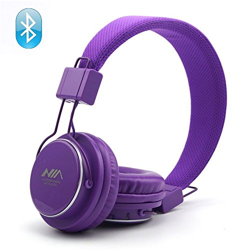 Wireless Bluetooth Headphones, 4 in 1 Multifunctional Foldable Headphones, TF card play, FM radio, Audio input headphones with microphone. (Purple)