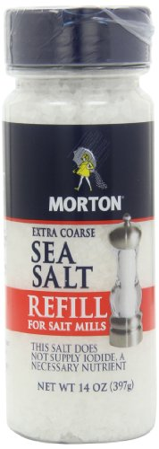 - MORTON Extra Coarse Sea Salt Grinder Refill, Delicate Flavor, Salt for Grinder Refill, Sea Salt for Grinder, Salt Mill Refill, Non Iodized Salt, Iodide Free, 14 Ounce (Pack of 12)