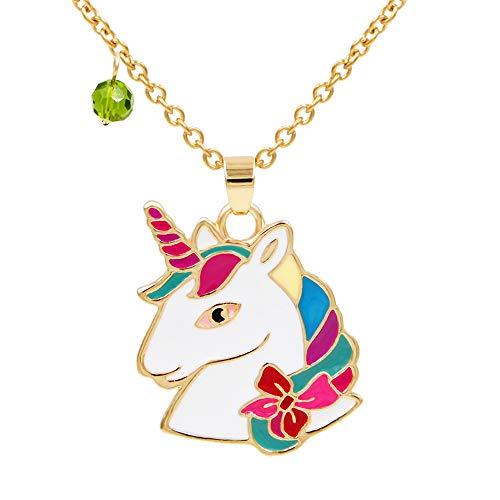 FANSING Collar de Piedra Natal de Agosto, Collares Pendientes de Unicornio, Joyas para Mujeres, Cadena de Acero Inoxidable de...
