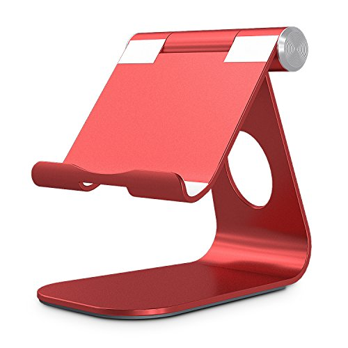 OMOTON Adjustable Tablet Stand Compatible with iPad, Tablets (Up to 12.9 inch) and All Cell Phones, Stable Sticky Base, Red